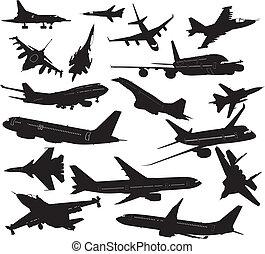 siluetas, conjunto, avión