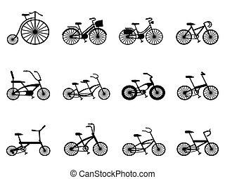 siluetas, conjunto, bicicleta