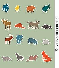 siluetas, conjunto, coloreado, animal