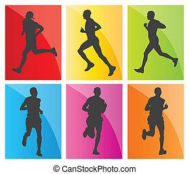 siluetas, conjunto, corredores maratón, hombre