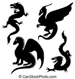 siluetas, conjunto, dragón