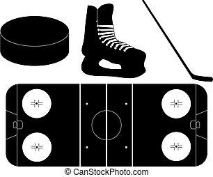 siluetas, conjunto, hockey, hielo