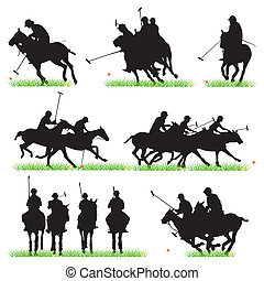 siluetas, conjunto, jugadores del polo