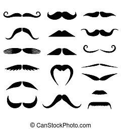 siluetas, conjunto, moustaches