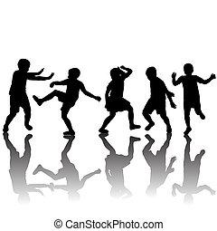 siluetas, conjunto, niños, bailando