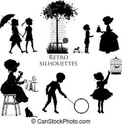 siluetas, conjunto, retro, niños
