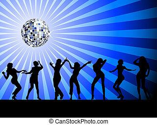 siluetas, dancefloor, gente, bailando