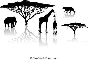 siluetas, de, animales