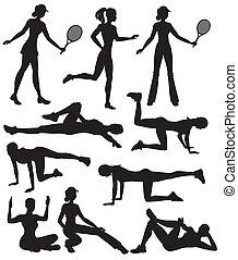 siluetas, de, atletas