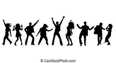 siluetas, de, bailando, gente