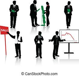 siluetas, de, businesspeople