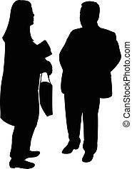 siluetas, de, dos personas, posición