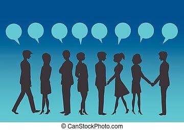 siluetas, de, empresarios, con, azul, discurso, bubble.