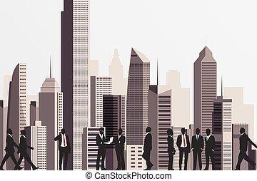 siluetas, de, empresarios, con, rascacielos, edificio, en, telón de fondo.