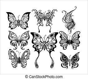 siluetas, de, exótico, mariposas