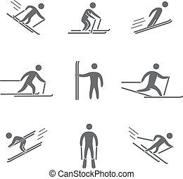 siluetas, de, figuras, esquiador, iconos, conjunto