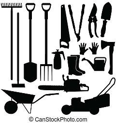 siluetas, de, herramientas de jardinería, vector