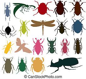 siluetas, de, insectos, de, diferente, colour., un, vector, ilustración