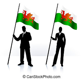 siluetas de la corporación mercantil, con, bandera ondeante,...