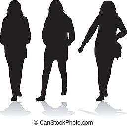 siluetas, de, mujeres