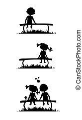 siluetas, de, niño y niña, sentado, en, un, banco