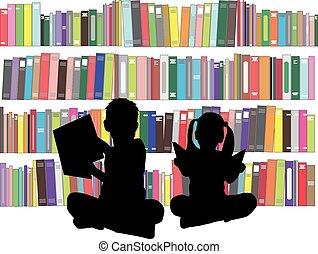 siluetas, de, niños, con, books.