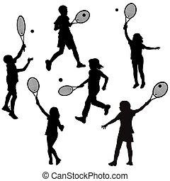 siluetas, de, niños jugar, tenis
