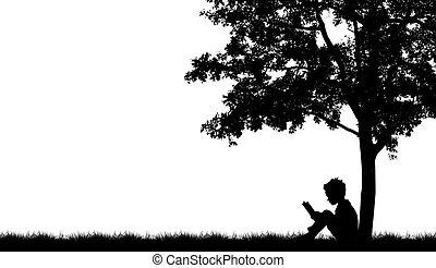 siluetas, de, niños, leer, libro, debajo, árbol