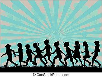 siluetas, de, niños, running.