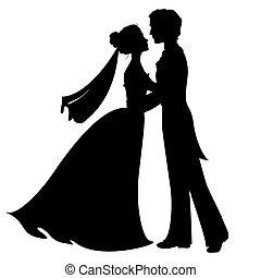 siluetas, de, novia y novio