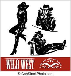 siluetas, de, occidental, cowgirls., vector, ilustración