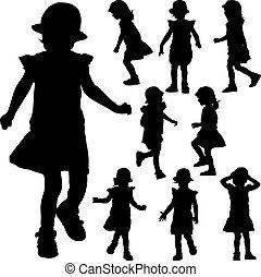 siluetas, de, pequeño, niña, en, el, fondo blanco