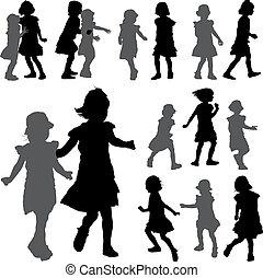 siluetas, de, pequeño, niñas, en, el, fondo blanco