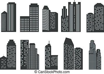siluetas, de, rascacielos