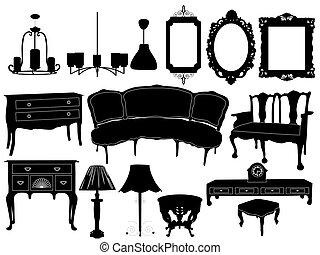 siluetas, de, retro, muebles