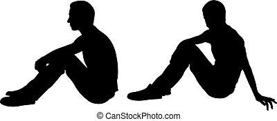 siluetas, de, sentada de la gente, postura