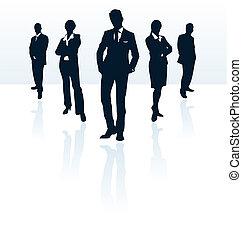 siluetas, de, vector, hombre de negocios, y, woman., más,...