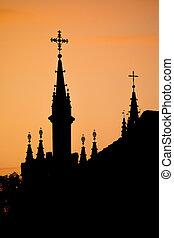 siluetas, de, vilnius, iglesias