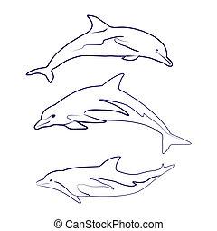 siluetas, delfín