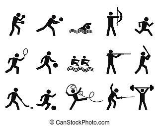 siluetas, deporte, gente, icono