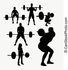 siluetas, elevación, peso, deporte