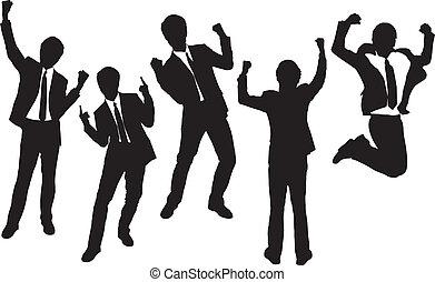 siluetas, feliz, hombres de negocios, excitado