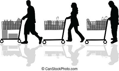 siluetas, gente, compras, afuera