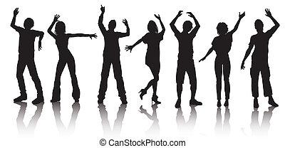 siluetas, gente, joven, bailando
