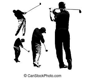 siluetas, golf, juego