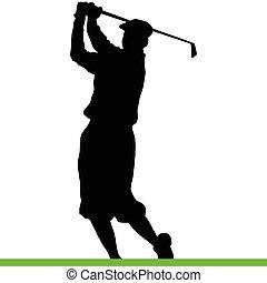 siluetas, golfista, negro