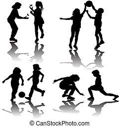 siluetas, grupo, juego, niños