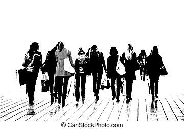 siluetas, grupo, mujeres
