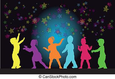 siluetas, grupo, niños
