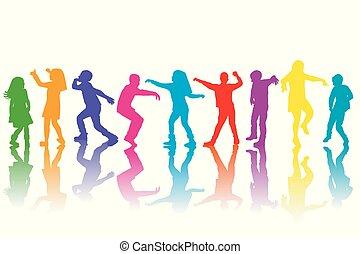 siluetas, grupo, niños, colorido, bailando